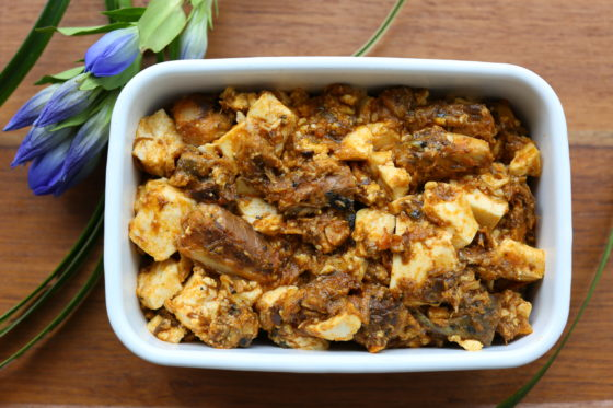 木綿豆腐とサバのドライカレーの常備菜