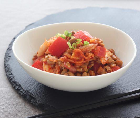トマト納豆とキムチ