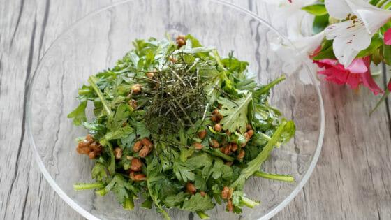 春菊と納豆のサラダ