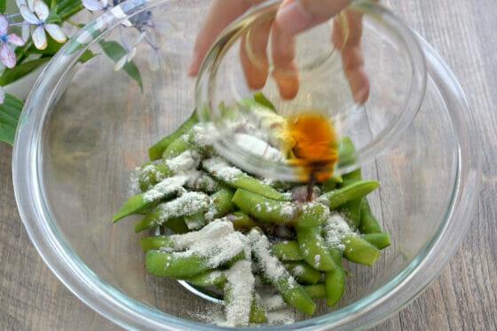 枝豆にわさびを加える