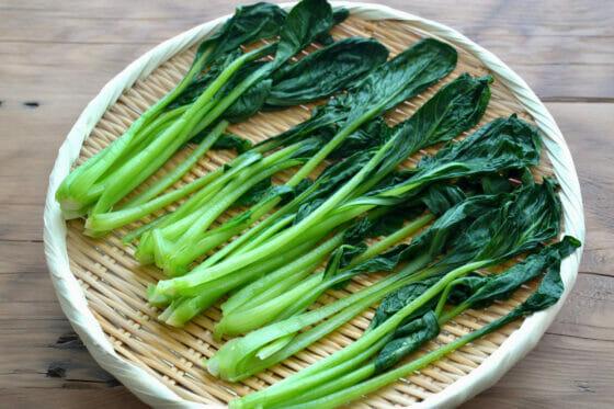 茹でた小松菜