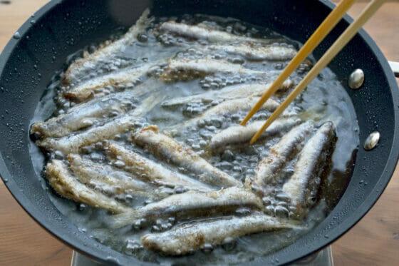 カタクチイワシ(シコイワシ)の揚げ方